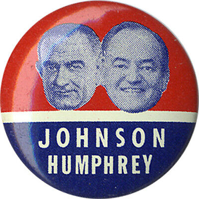 1964 Campaign Lyndon JOHNSON Hubert HUMPHREY Floating Heads Jugate Button (1610)