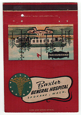 BAXTER GENERAL HOSPITAL Spokane Washington MATCHBOOK Cover MILITARY Match Book