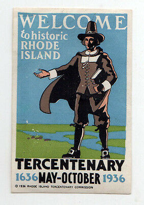 1935 RHODE ISLAND TERCENTENARY Label DECAL Providence RI Historic ROGER WILLIAMS