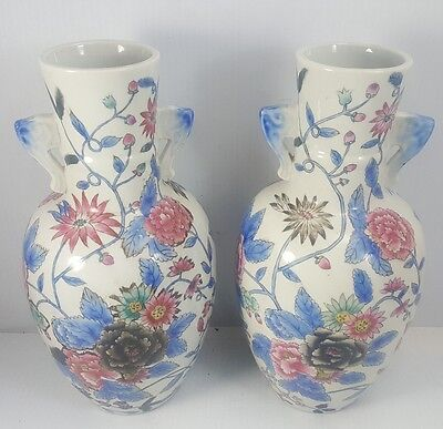 Pair of Vintage HAND MADE Ceramic Chinese VASES Hand Tinted Floral SIGNED