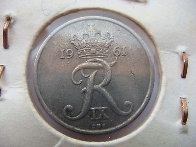1961 Denmark 10 Ore Coin in Very Fine Grade
