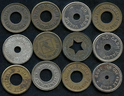 Group Of 12 Vintage Gaming Amusment Coin Tokens
