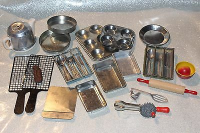 Lot Vintage Metal Children's Play Kitchen Pans Cutlery Made In Germany!
