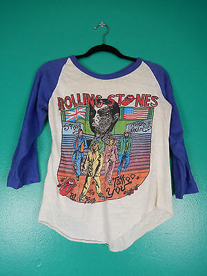 Vintage 80's Rare Rolling Stones Tattoo You Tour 1981 Baseball Concert T-Shirt S
