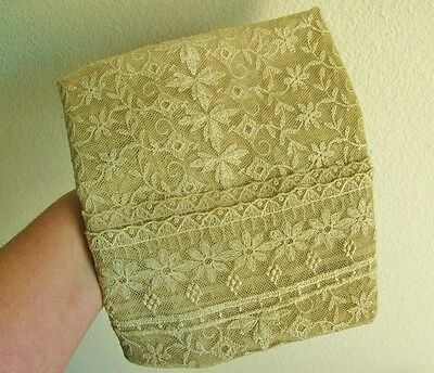 "Antique Vintage Tan Lace Dresser Table Runner, 40"", Ecru Tan Beige"