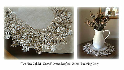 "2 Piece  Gift Set 36"" Dresser Scarf Table Runner PLUS 19"" Doily Neutral floral"