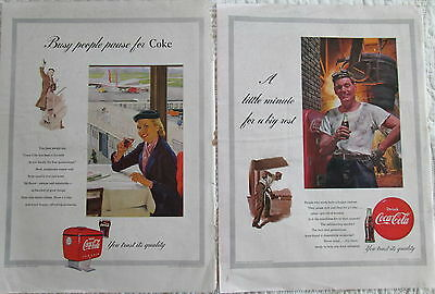 Lot of 4 Coca-Cola or Coke print ads from LIFE magazines of the 1940s and 1950s