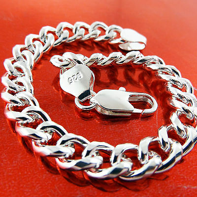 A737 Genuine Real 925 Sterling Silver S/f Solid Mens Curb Cuff Bracelet Bangle