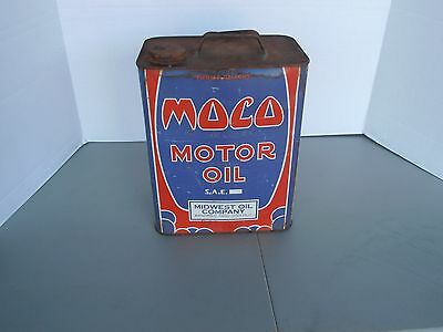 Vintage Original Moco Motor Oil 2 Gallon Can Midwest Oil Company