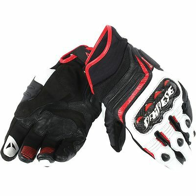 Dainese Carbon D1 Short Mens Leather Motorcycle Gloves Black/White/Lava Red