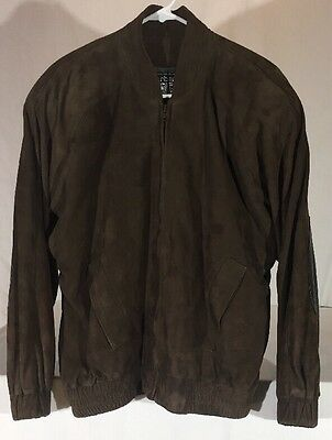 Vintage '80s Burberrys Suede Leather Jacket Men's M Elbow Patches New Wave USA