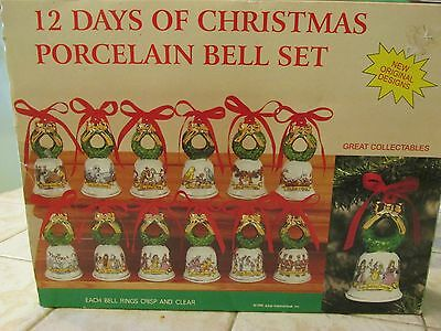 Porcelain Bells 12 Days of Christmas Set by Jobar Vintage 1996 NEW MINT CONDITIO