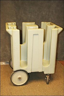 """Cambro DISH DOLLY CART Holds 8"""" Plates Rolling Carrier Holder poker chip stack"""