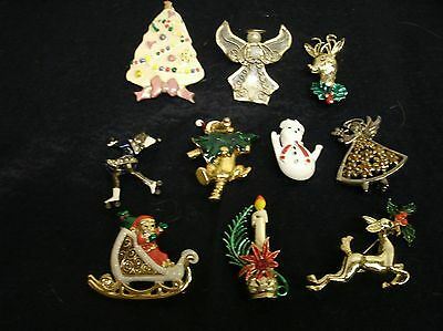 Vintage lot of 10 CHRISTMAS HOLIDAY Brooches Pins