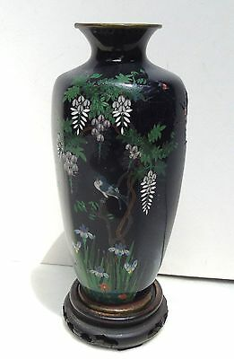 Antique Japanese Cloisonne Mehji Period Vase Silver Wires Wisteria Irises Stand