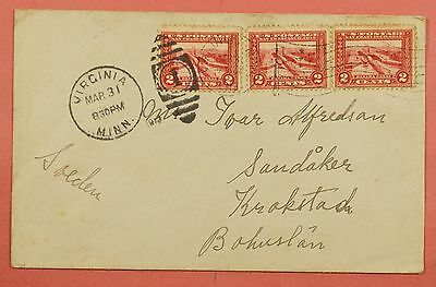 2C Panama Pacific # 398 X 3 On 1913 Cover Virginia Mn To Sweden