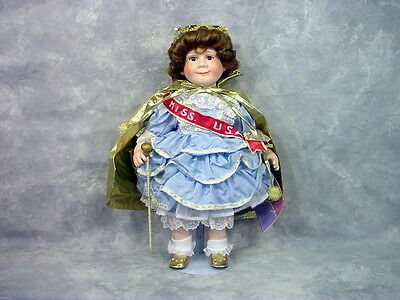 """20"""" Rare Limited William Tung Collectible Miss USA Porcelain Doll Tuss 1993"""