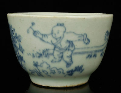 Asia Handwork Painting Children Pattern Blue And White Porcelain Cup