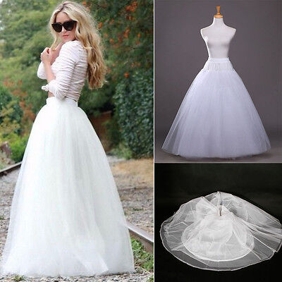 A-Line White 1Hoop 3 Layer Long Petticoat/Underskirt/Slip Crinoline Prom/Wedding