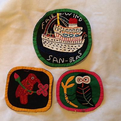 Three Mola Patches Ship Owl Bird Very Colorful Hand Embroidered