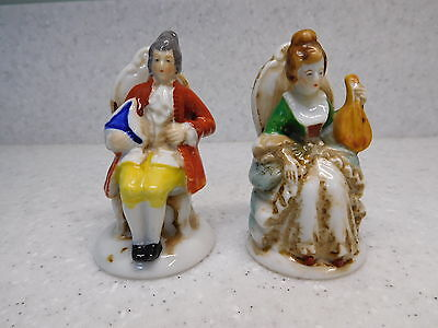 2 Occupied Japan Figurines Victorian Man and Woman Sitting Seated in Chair