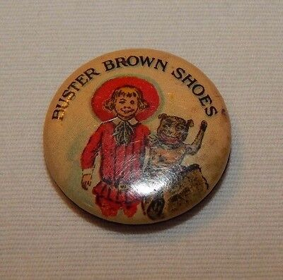 RARE old Buster Brown Shoes advertising pin with Buster Brown and Tige