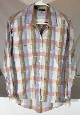 Vintage 90s Patagonia Abstract Plaid Long Sleeve Btn Dn Shirt Womens M Oversized