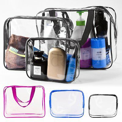 3 Piece Cosmetic Makeup Toiletry Clear PVC Travel Wash Bags Holder Pouch Set Kit