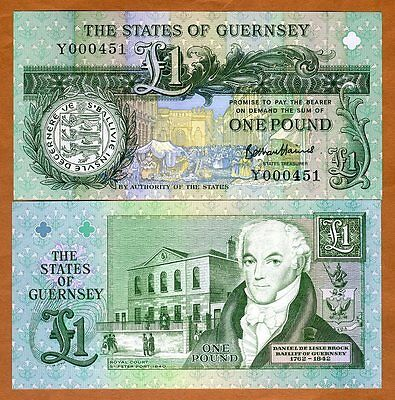 Guernsey, 1 pound, ND (1991) 2016, P-52d, UNC > Low S/Ns
