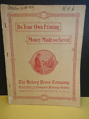 c 1900 Kelsey Printing Press Catalog Type Borders Cuts Tools Meriden CT