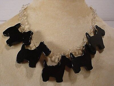 Vintage Celluloid Chain with 5 Bakelite Scottie Dog Charms Choker Necklace
