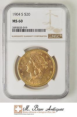 MS60 1904-S 20 Dollar Liberty Head Gold Double Eagle - Graded NGC *XC69