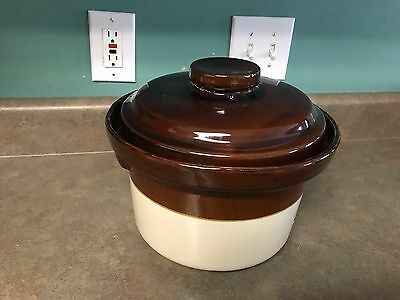 Vintage LARGE USA McCoy Pottery BROWN ROUND CASSEROLE & LID Quart 4 1//2