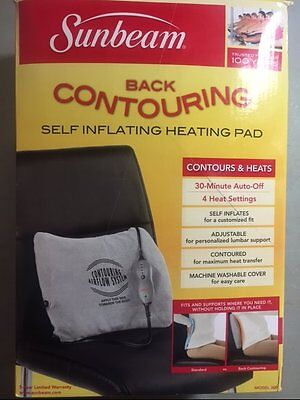 Sunbeam 300-000 Back Contouring Heating Pad with Lumbar Support NEW FREE SHIP