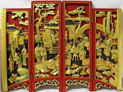 Old Antique Vintage Chinese deep Carved 4 Panel Gold Gilt Openwork Table Screen