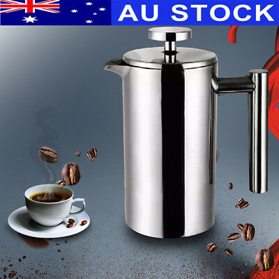 AU 350ML Stainless Steel Press Coffee Mug Tea Pot w/ Plunger Filter Double Wall