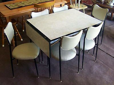 Retro Vintage Laminex Laminate Cafe Dining Kitchen Folding Table 6 Vinyl Chairs