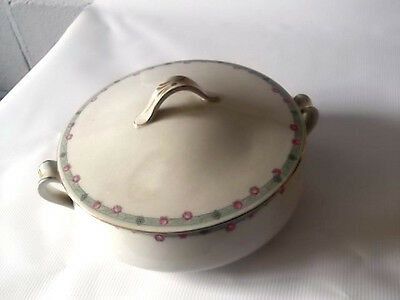 ? Grimwades   Lidded   Tureen     Green Band  With Pink Roses