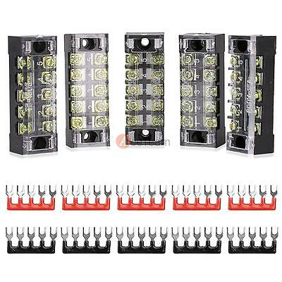 5Pcs 8 Positions Dual Rows Covered Barrier Screw Terminal Block Strip 600V 15A