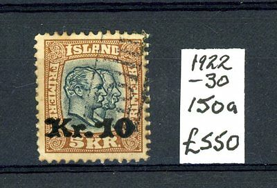 Iceland  1922-30  (SG 150A)  used  Cat £550    (J1601)