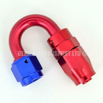 AN6 -6 6AN 180 Degree Braided Hose Fitting JIC (Red / Blue) Oil Fuel Water