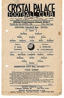 Crystal Palace v Norwich City Reserves Programme 31.8.1946