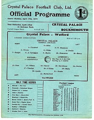 Crystal Palace v Watford Reserves Programme 17.4.1933