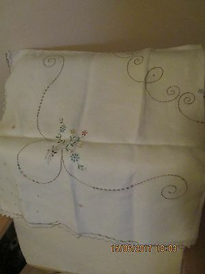 Beautiful Linen Tablecloth- Embroidered with scalloped edge