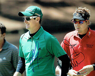 Ian POULTER & Justin ROSE Double SIGNED Golf Autograph 10x8 Photo 2 AFTAL COA