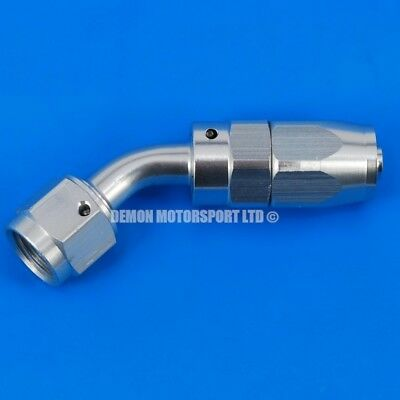 AN -6 (AN6) 45 Degree Matt Silver Hose Fitting For Fuel Hose And Alloy Fuel Tank