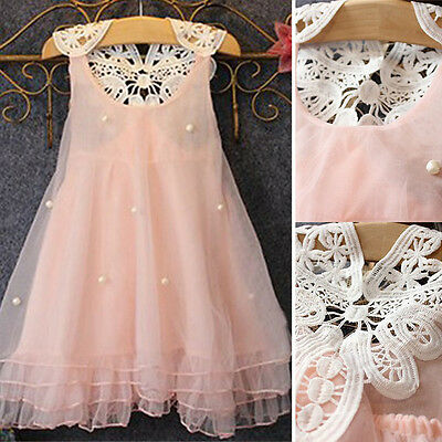 Kids Girls Lace Flower Dress Princess Sleeveless Formal Party Wedding Bridesmaid