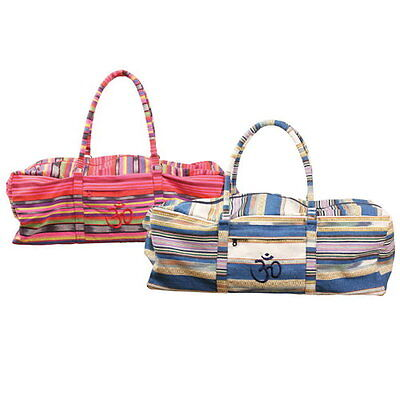 Yoga-Mad Deluxe Yoga Kit Mat Bag Travel Stripe Blue or Pink RRP £24.99 *BNWT*