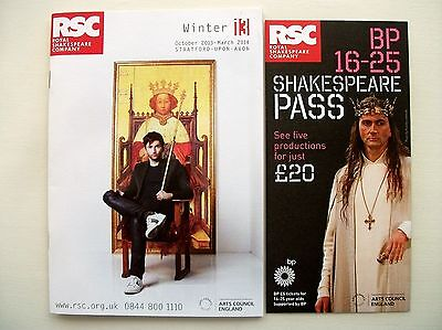 2 David Tennant Related Rsc Theatre Promotional Flyer Booklet Shakespeare