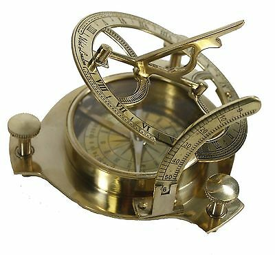 Sundial Compass Brass Nautical Maritime Antique Vintage Decor Gift Camp Hiking
